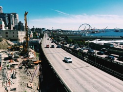 View of Seattle Waterfront from Victor Steinbrueck Park, Seattle, WA. (08/25/2015)